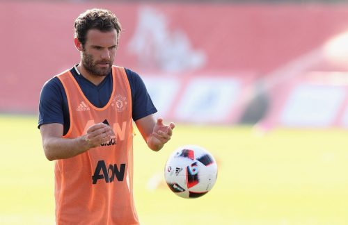 SHANGHAI, CHINA - JULY 20:  (EXCLUSIVE COVERAGE) Juan Mata of Manchester United in action during a first team training session as part of their pre-season tour of China at Century Park on July 20, 2016 in Shanghai, China.  (Photo by Matthew Peters/Man Utd via Getty Images)
