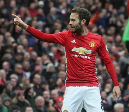 MANCHESTER, ENGLAND - NOVEMBER 19:  Juan Mata of Manchester United celebrates scoring their first goal during the Premier League match between Manchester United and Arsenal at Old Trafford on November 19, 2016 in Manchester, England.  (Photo by Tom Purslow/Man Utd via Getty Images)
